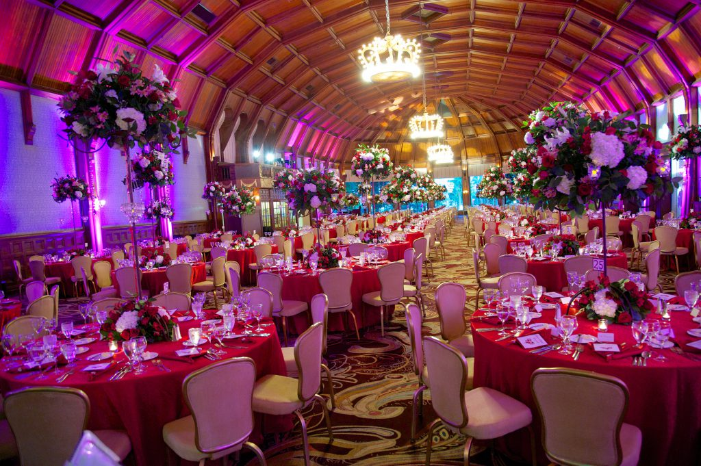 The beautiful grandeur of the Hotel Del Coronado--purple and red for a happy Gala!