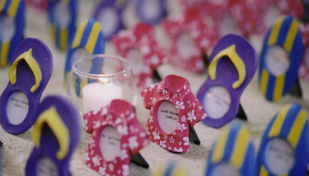 Place cards for a beach themed party