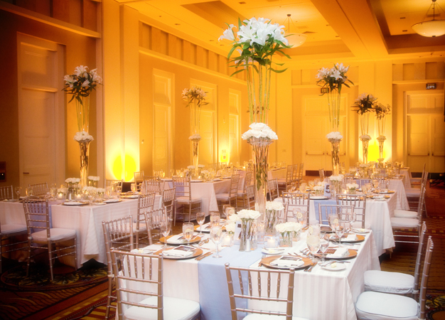 Setting up for an elegant wedding at the Hyatt Aventine in San Diego